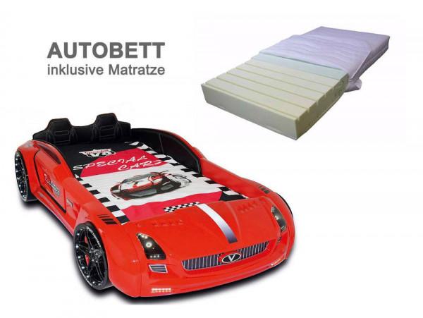 Autobett ROADSTER SPORT rot mit Matratze aus Kaltschaum