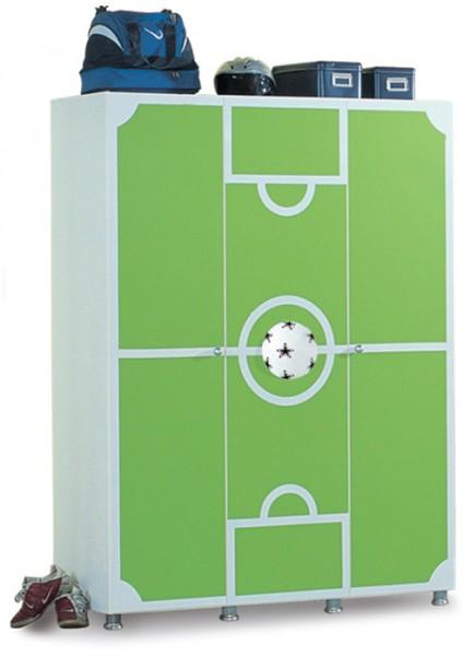 Kleiderschrank FUßBALL STADION 3-türig grün