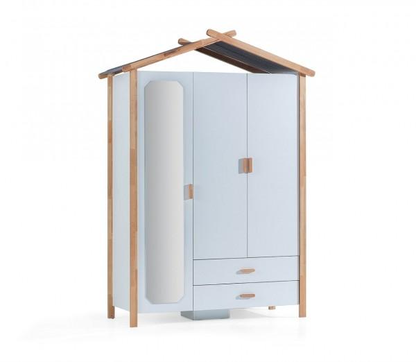 Kleiderschrank HOUSE 3-türig im skandinavischen Stil