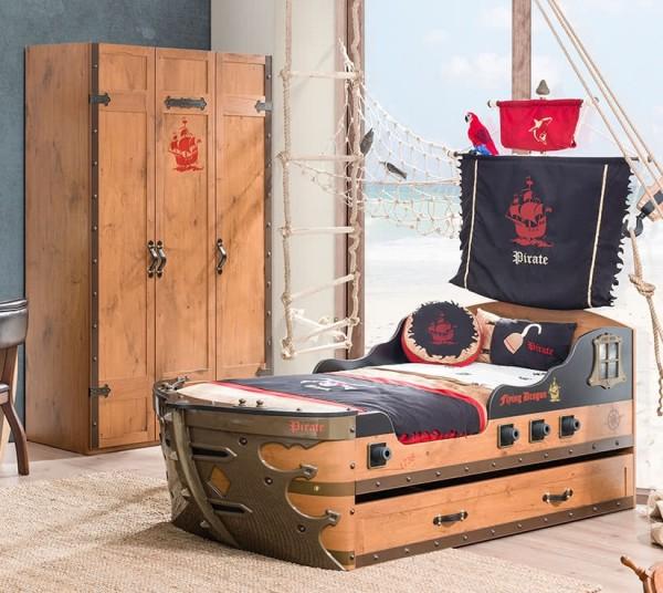 SPAR-SET2 Kinderzimmer PIRAT mit Schiffbett, 2-teilig