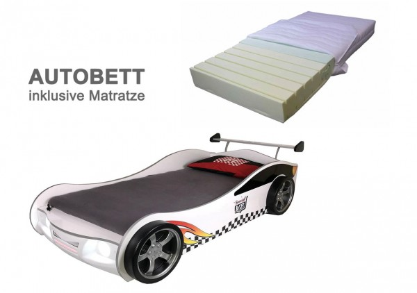 Holzautobett Turbo V4 weiß mit LED Beleuchtung und Schlüssel