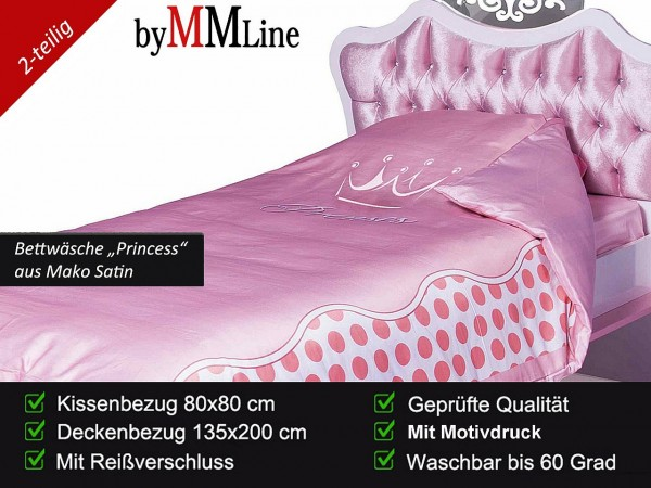 Bettwäsche Princess rosa, Set 2-teilig