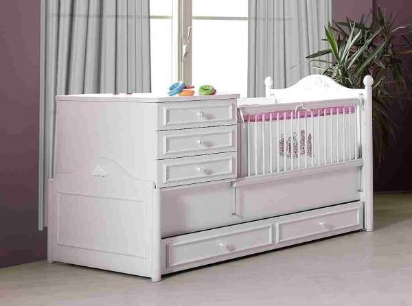 Umbaubares Babybett mit Bettschubkasten weiß, 4-teilig