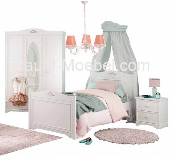 Cilek Rustika Komplettzimmer weiß mit Schrank, Bett und Kommode