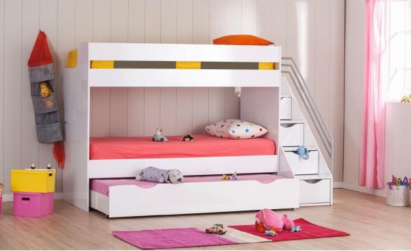Kinder Hochbett Etagenbett KIIKA in weiss
