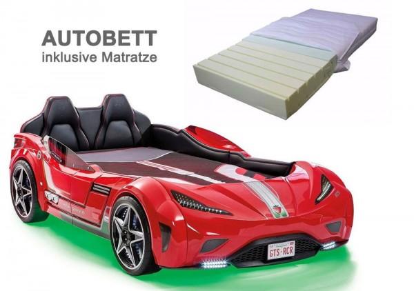Cilek Autobett GTS SPORT rot mit Matratze aus Kaltschaum
