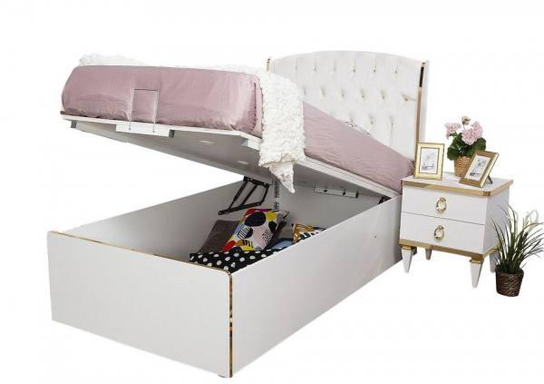 Stauraumbett mit Bettkasten 100x200cm Rixos weiß gold für Mädchen
