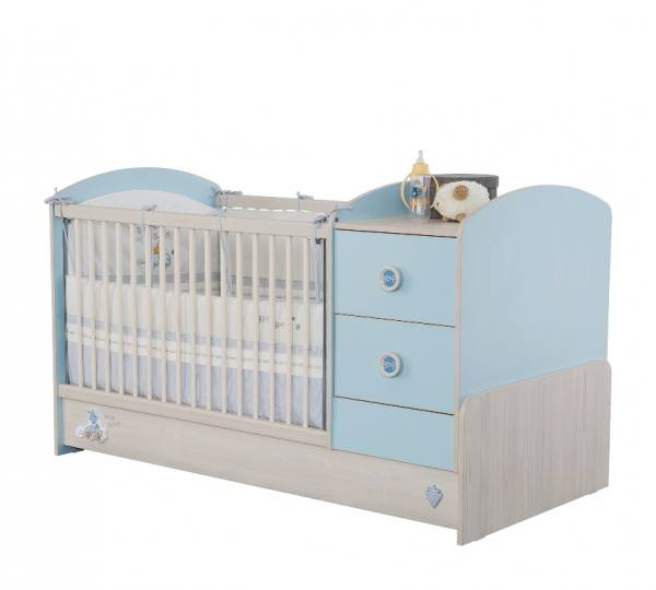 Umbaubares Babybett BABYBLUE, 4-teilig 75x160cm