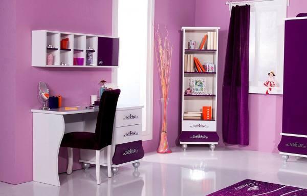 BÜROSET ANASTASIA lila mit Schreibtisch, Regal,Stuhl, 4-teilig