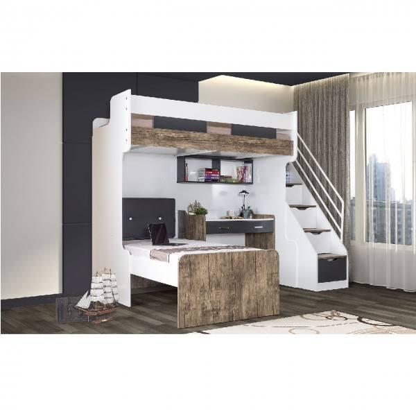 Multifunktion Hochbett 90x200 COMPACT K2 mit Einzelbett, Schreibtisch, Regal, Kissen
