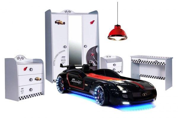 Komplett Autobettzimmer TURBO weiß 6 teilig mit Roadster Sport schwarz