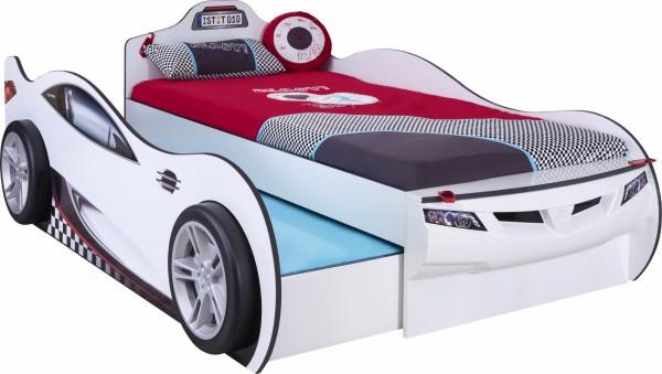 Autobett RACER DOUBLE weiss mit Bettschubkasten