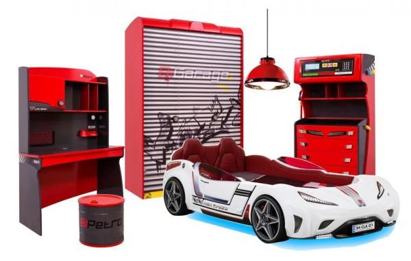 Komplett Autobettzimmer RACER 7-teilig in rot mit GTS Autobett weiß