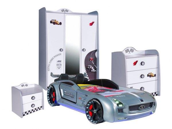 SPAR-SET Autobettzimmer weiß mit Roadster silber, 4-teilig