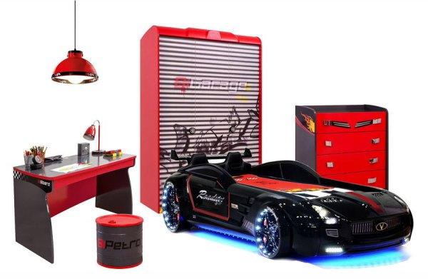 Auto Kinderzimmer Komplett RACER ROT mit Roadster Sport Autobett, 6-teilig