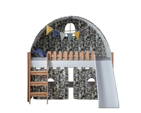 Hochbett Spielbett PLAYHOUSE JUNGLE mit Rutsche, Tunnel und Vorhangstoff