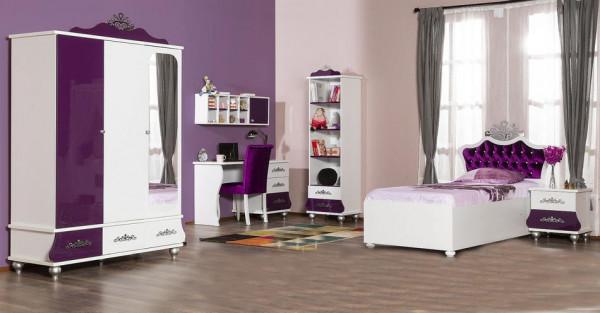 Komplett Kinderzimmer ANASTASIA lila mit Stauraumbett und Schrank, 6-teilig