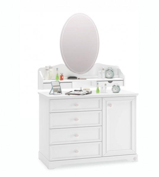 Cilek Rustika Wäschekommode mit Spiegelaufsatz weiß