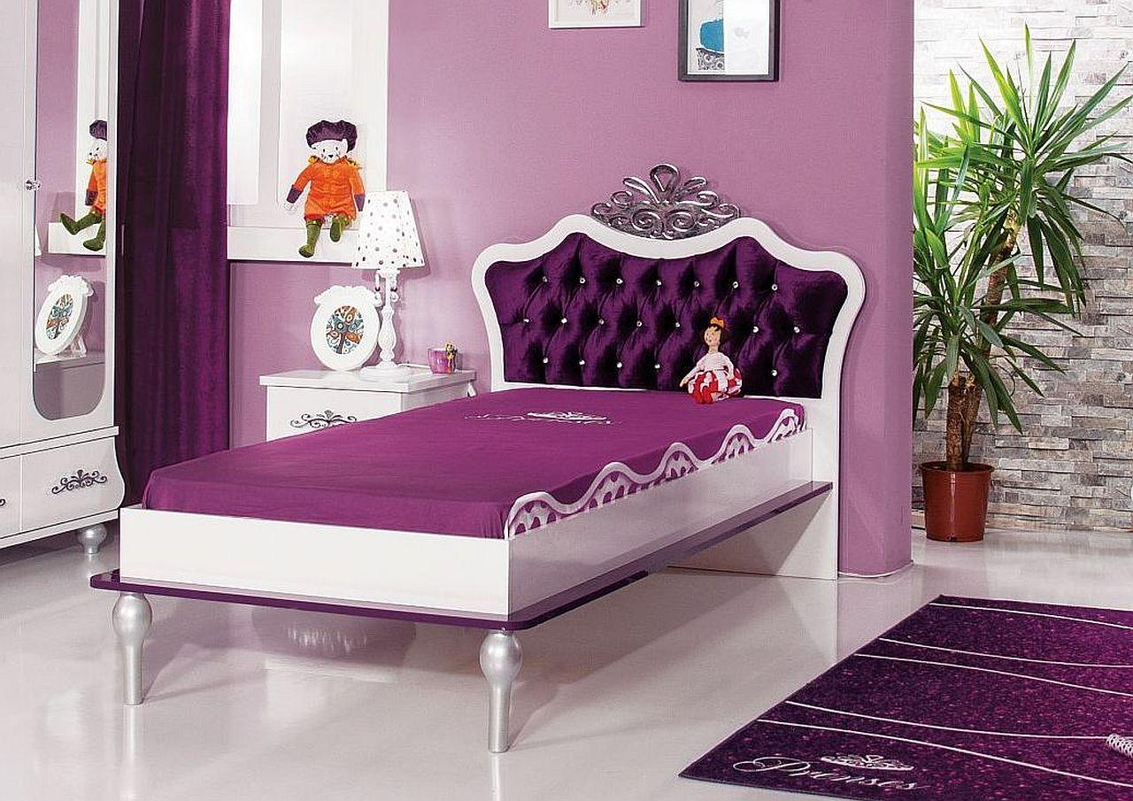 Kinderzimmer komplett anastasia 8 lila mit bett 90x200cm for Cars kinderzimmer komplett