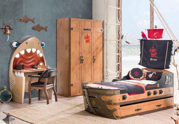 SPAR-SET4 Pirat Kinderzimmer mit Schiffsbett, 3-teilig