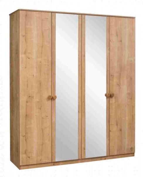 Kleiderschrank MOCHA 4-türig mit Spiegel natur