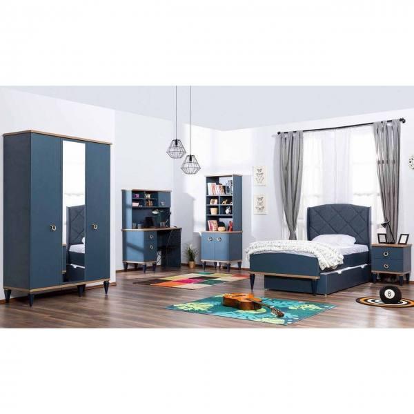 5-teiliges Kinderzimmer Set MOSS mit Bett, Schrank, Nachtkonsole, Wäschekommode und Wandspiegel