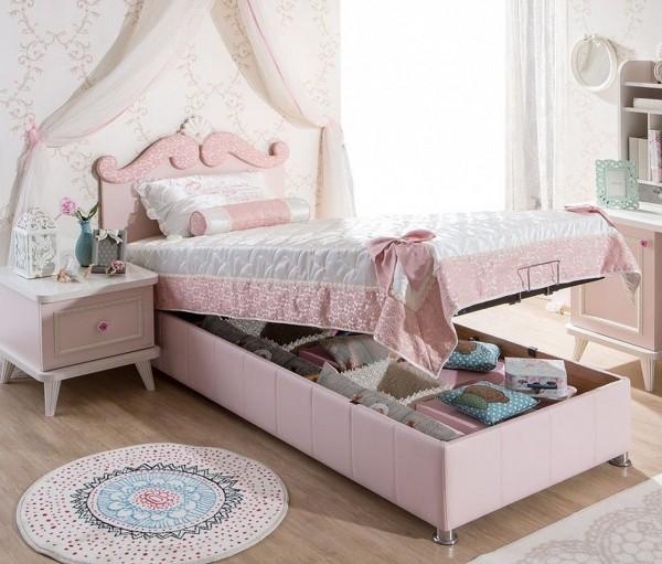 Stauraumbett SELLI rosa mit Kopfteil, hochklappbar, 90x200cm