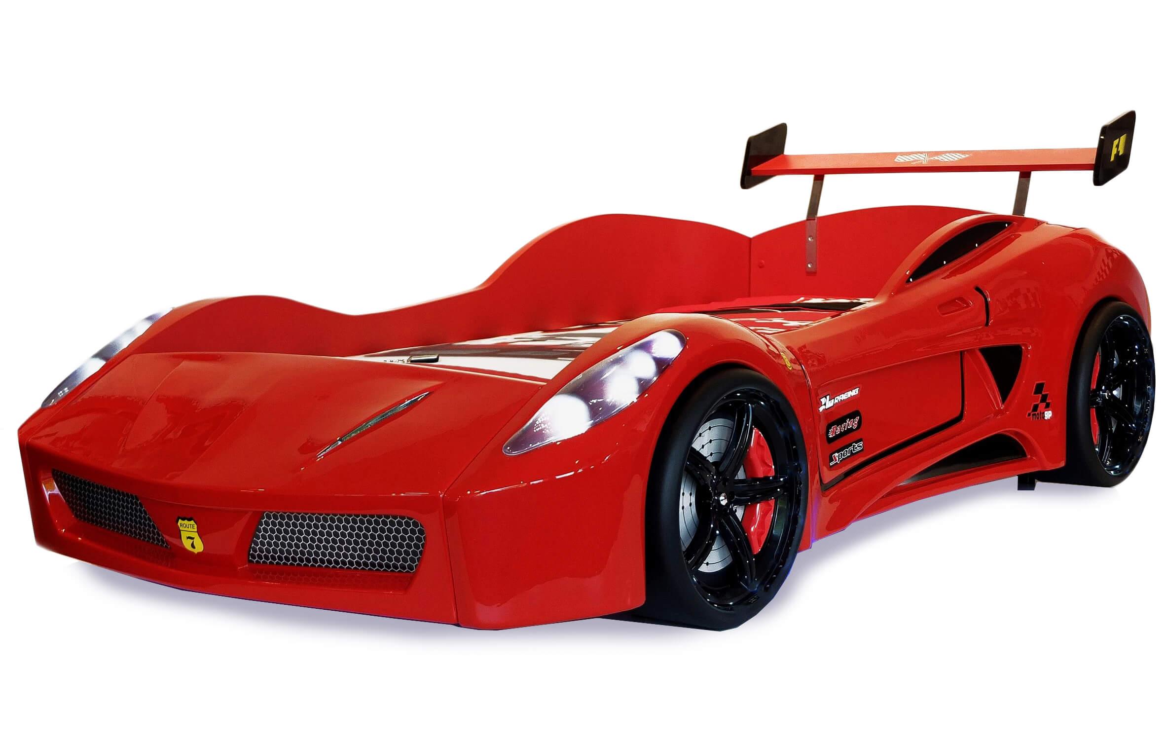 Details Zu Autobett Kinderbett Turbo V7 Rot Mit Led Licht Kippschalter Ohne Sound Funk