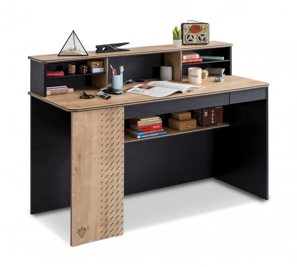 Blake Schreibtisch ll inkl. Aufsatz natur Holzoptik/schwarz