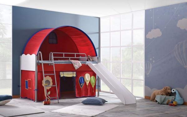Hochbett PLAYHOUSE rot mit Rutsche, Tunnel, Vorhang