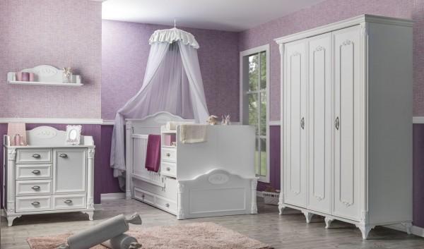 Komplett Babyzimmer ROMANTIC weiß, 4-teilig