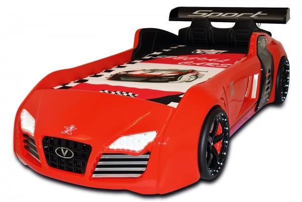 Autobett TURBO V8 SPORT rot mit Innenpolsterung und Funk - AUSSTELLUNGSSTÜCK -