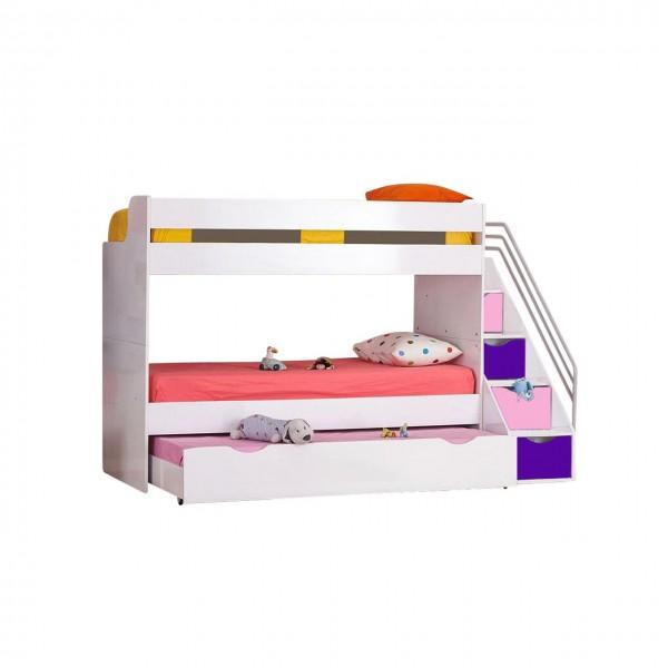Multifunktion Hochbett KIIKO mit Bettschubkasten, umbaubar, weiß, orange und blau 90x200cm