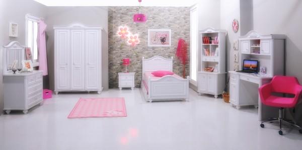 Mädchenzimmer Sparset 8 tlg. BELLA weiss + Standardbett 90x200