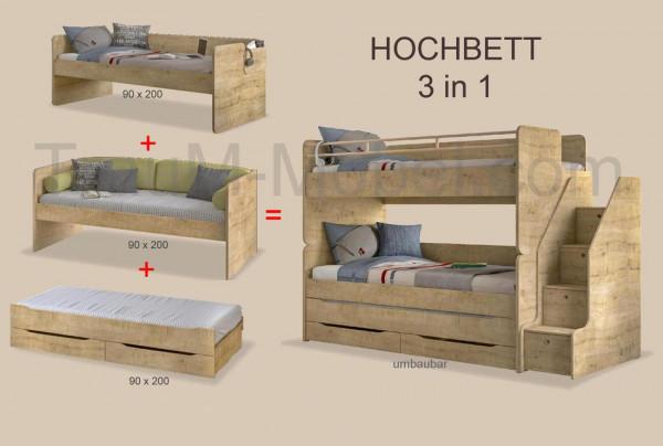 Umbaubares Multifunktion Kinder Hochbett STUDIO natur mit Gästebett und Schubkasten