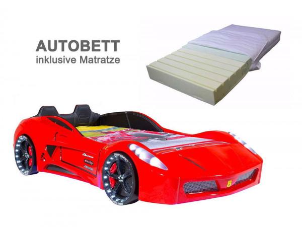 Autobett TURBO V7 SPORT rot mit Matratze, SPARPREIS