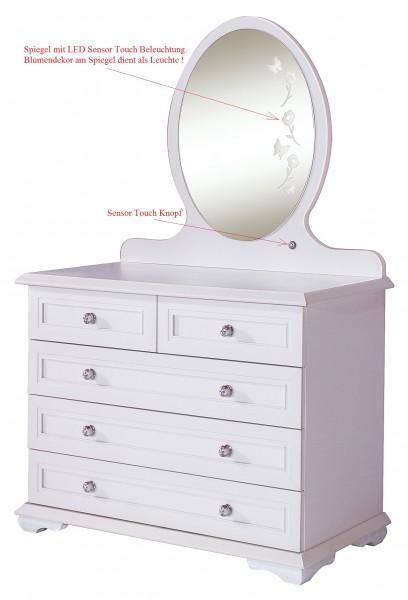 Wäschekommode CINDY mit Spiegel, LED Touch Beleuchtung, weiß