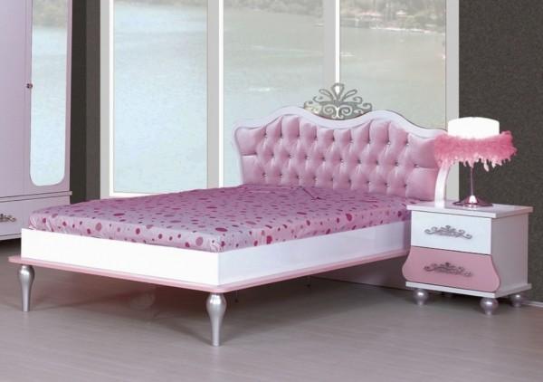 SPARSET Jugendbett ANASTASIA rosa mit Nachtkonsole; 120x200cm