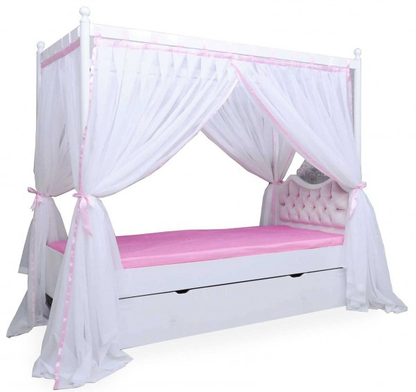 Himmelbett ANASTASIA rosa mit Bettschubkasten, Rost, 90x200cm
