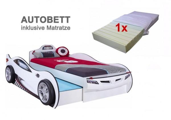 Cilek Coupe Racer Autobett weiß mit Gästebett und Matratze