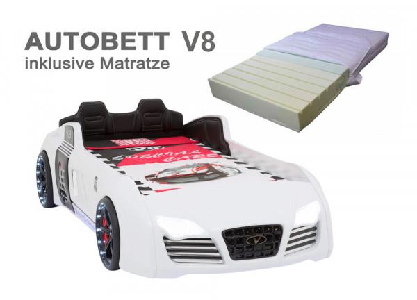 Autobett TURBO V8 SPORT weiß mit Matratze zum Sparpreis
