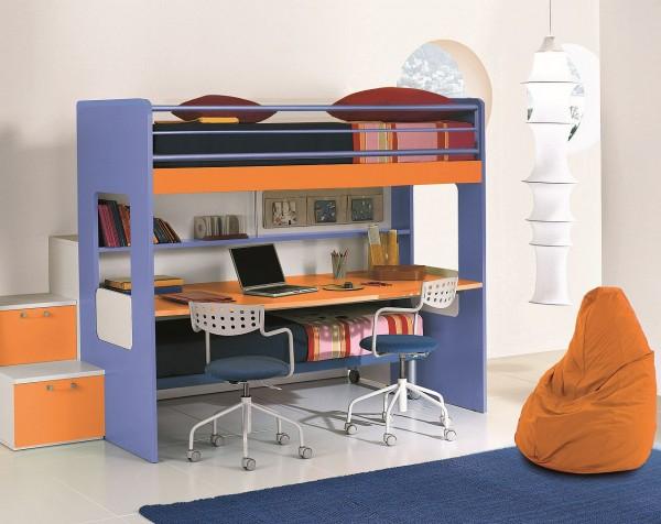 Kinder Hochbett 90x200 mit Schreibtisch, Regal und Schubladentreppe