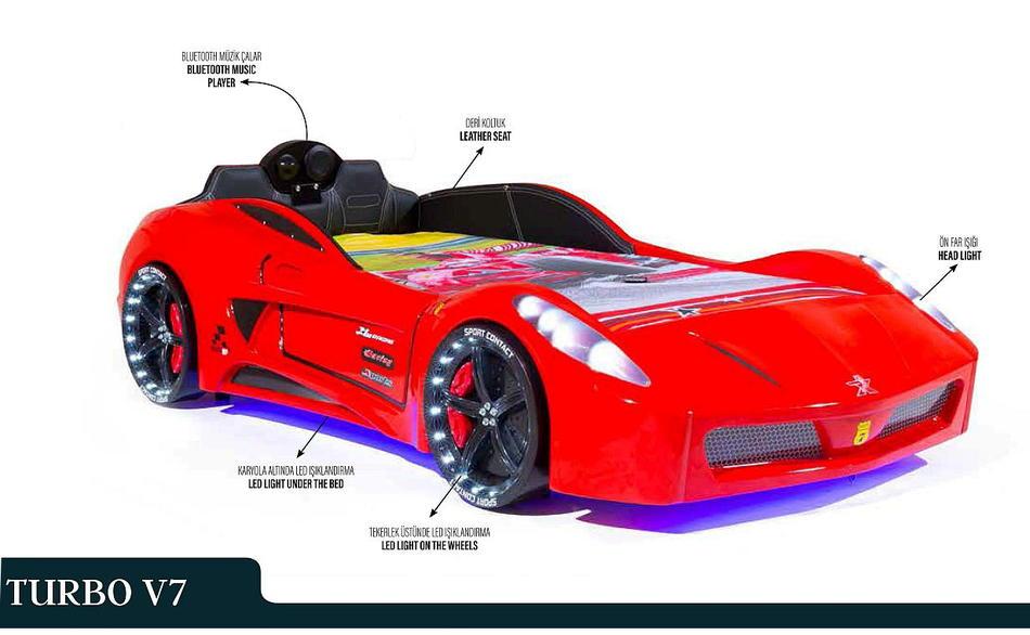 Autobett TURBO V7 SPORT weiß mit Sportpack-Set