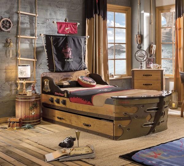 Komplett Kinderzimmer PIRAT mit Schiffsbett - Sparset 4 tlg.