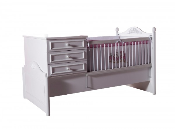 Mitwachsendes Convertible Babybett (80x180cm BABYSIENA umbaubar weiss