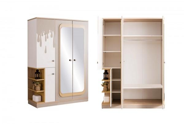 Kleiderschrank DAMLA 3-trg. beige/weiss