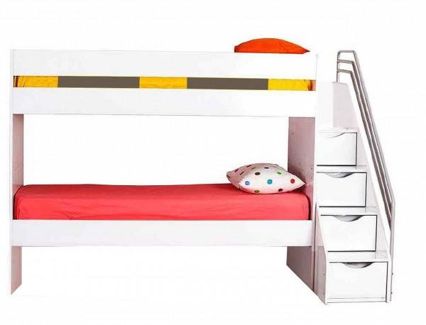 Multifunktion Hochbett KIIKO weiß, umbaubar, 90x200cm