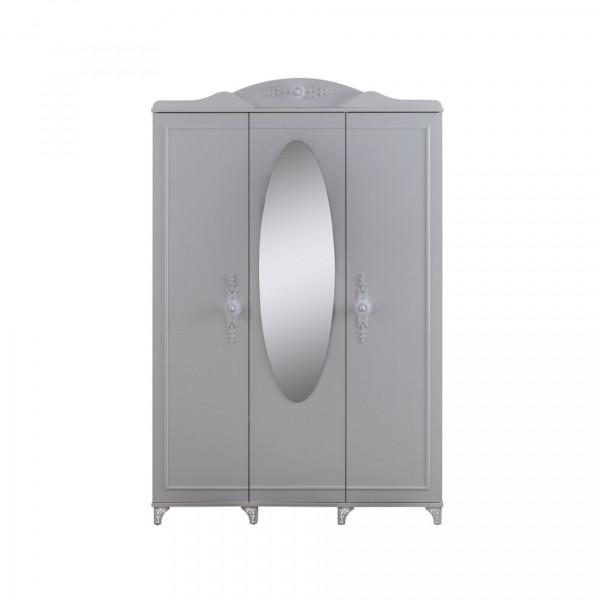 Kleiderschrank 3 türig mit Spiegel PETTY weiß
