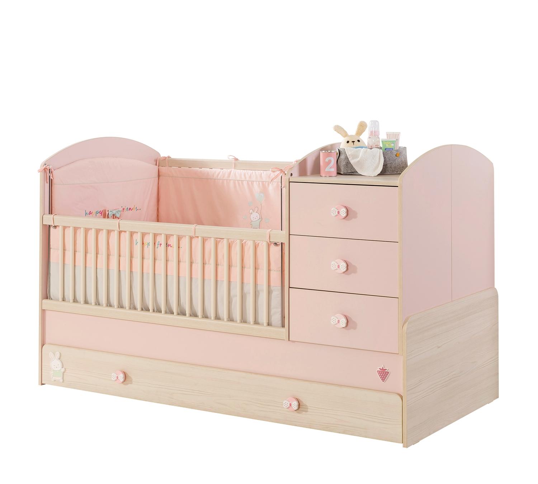 mitwachsendes babybett mit bettschubkasten rosa traum m. Black Bedroom Furniture Sets. Home Design Ideas