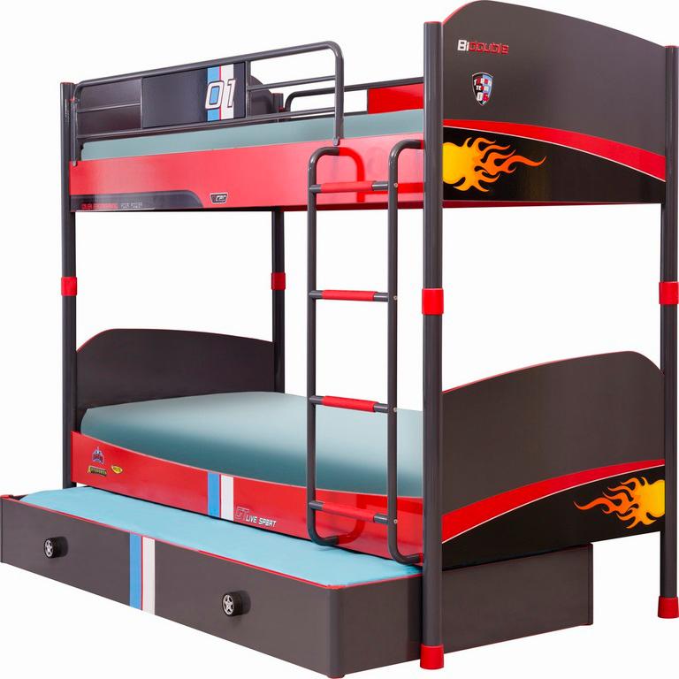 etagenbett 90x200cm racer in rot traum m. Black Bedroom Furniture Sets. Home Design Ideas